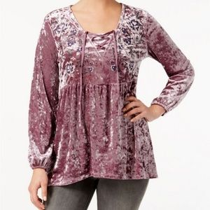 Style & Co. | Crushed Velvet Peasant Tunic Top